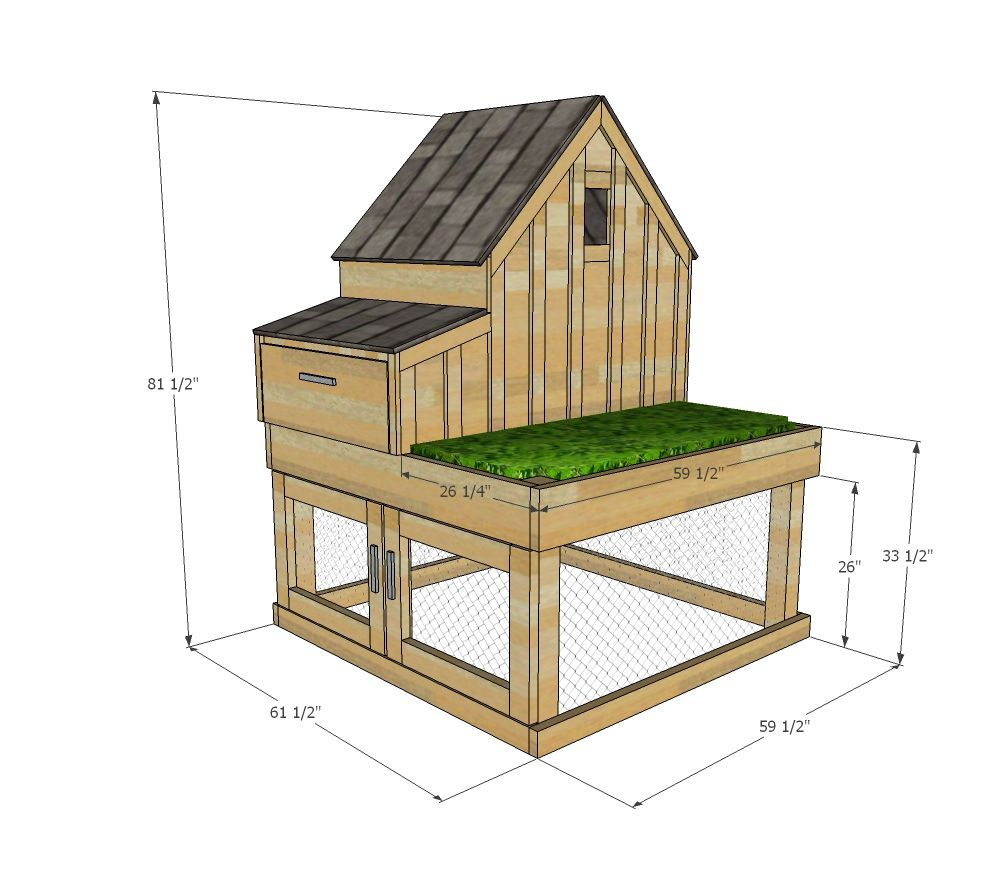 Ana white build a small chicken coop with planter clean for Small chicken house plans