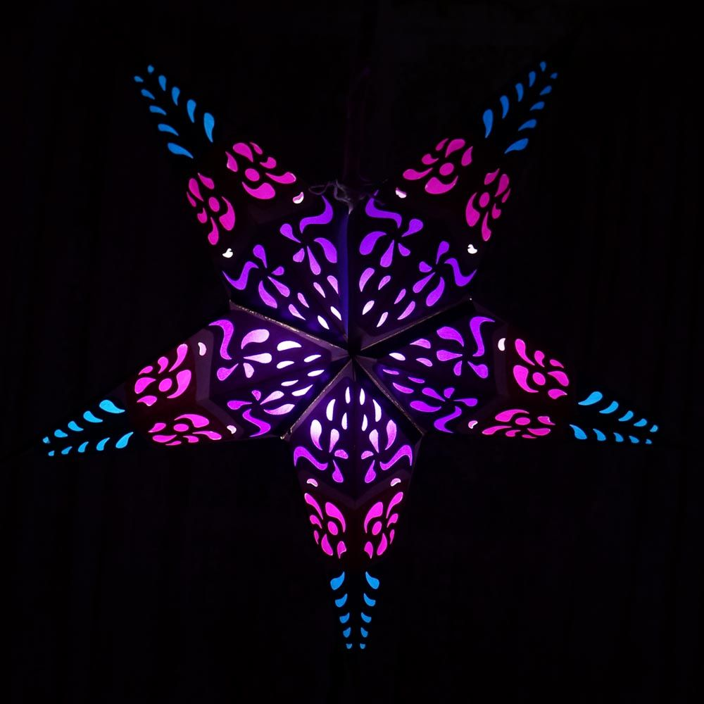 Purple Hypnotic Star Lantern – ColorCraft Lights Paper Stars, Lanterns & More
