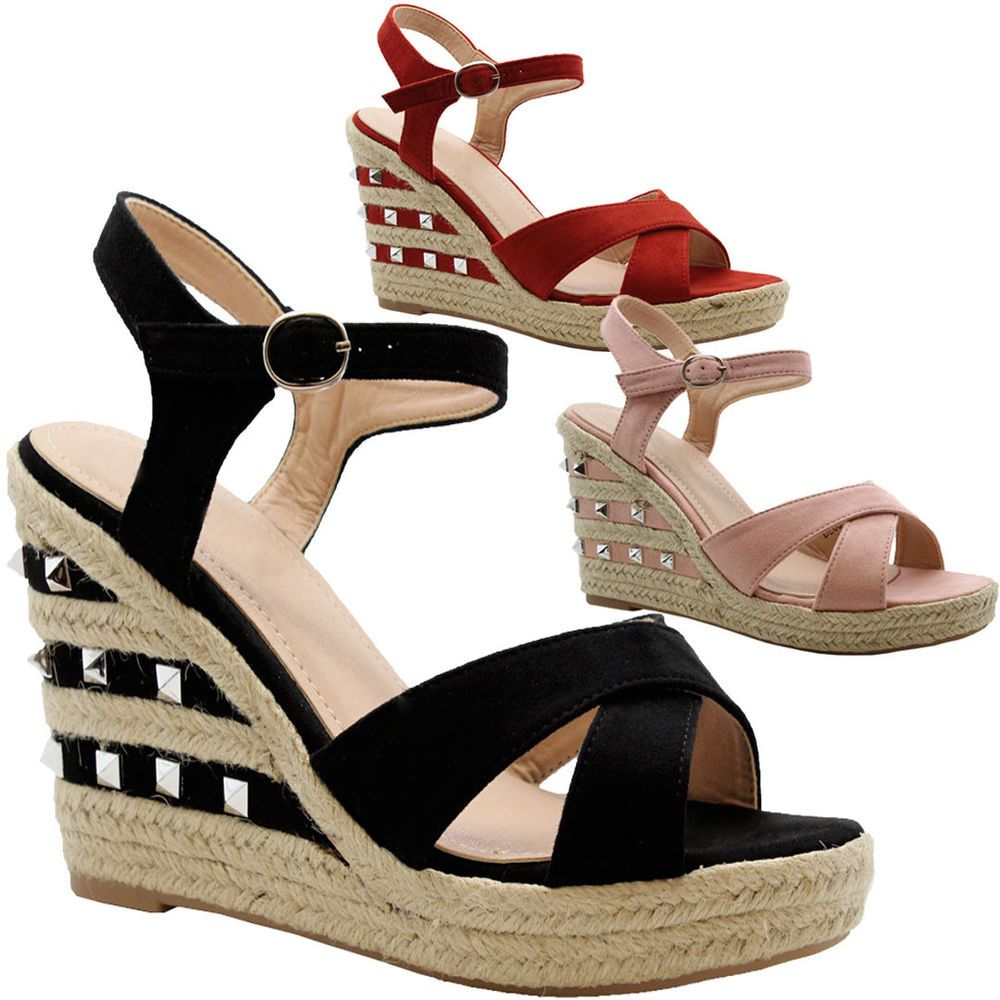 Ladies Womens Strappy Studded Espadrilles High Wedge Platform Sandals Shoes Size