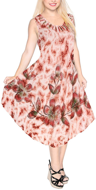 4e03aa53dd LA LEELA Women's Summer Casual Sleeveless Loose Swing T-Shirt Beach  Sundress Rayon Tie Dye D
