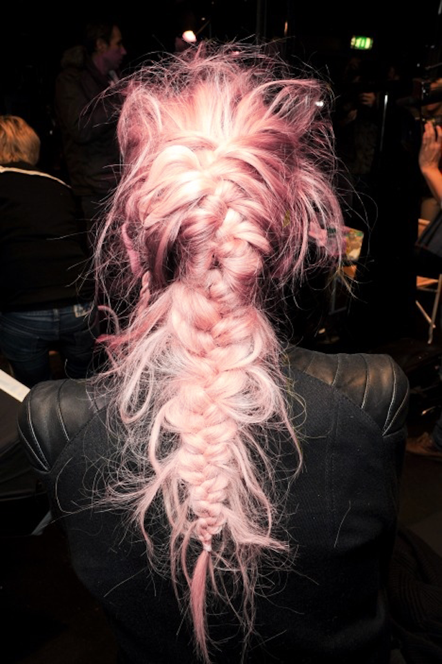 Messy braid + pastel pink hair #messybraids