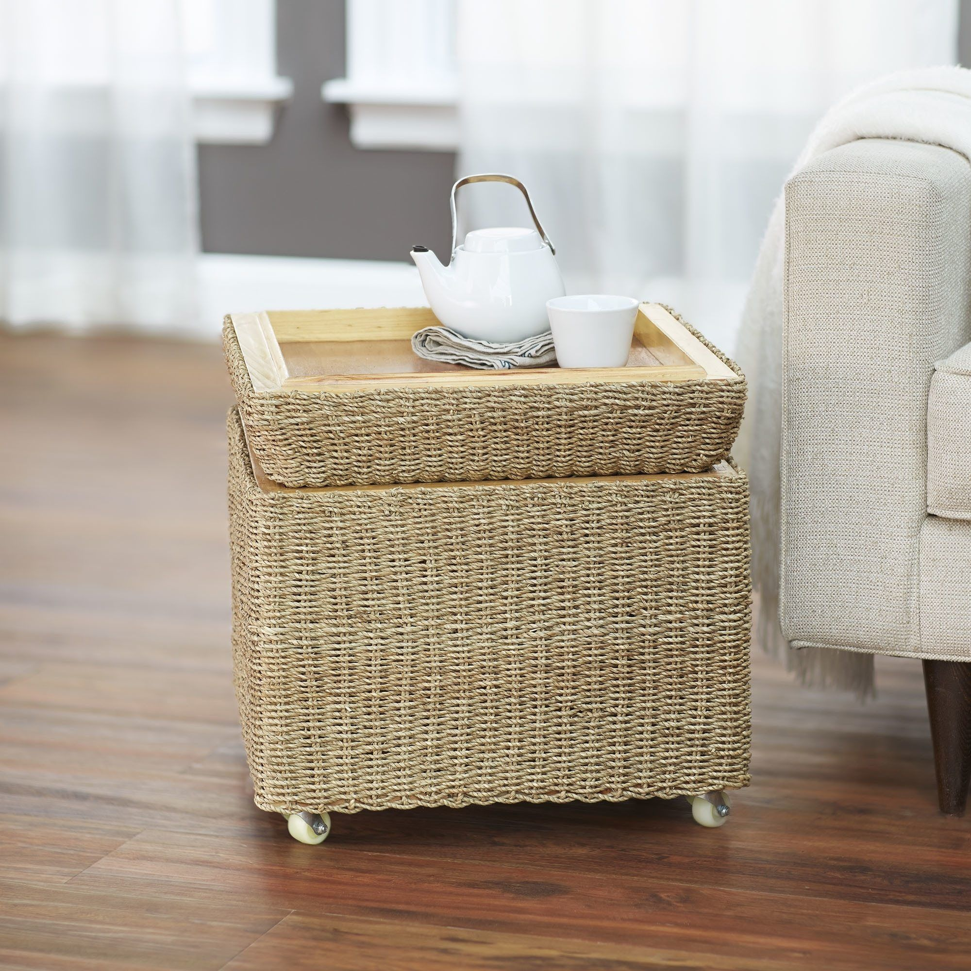 Household Essentials Rolling Seagrass Wicker Storage Seat Ottoman Is Also A  Kind Of File Cabinet Ottoman