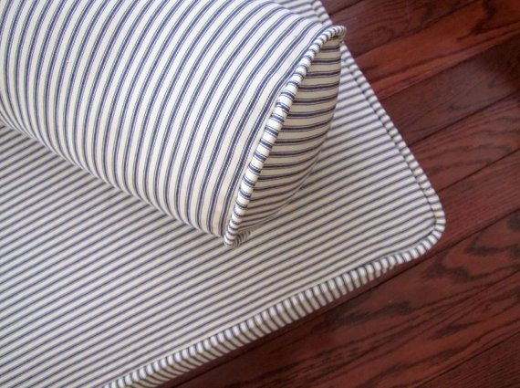 Piped Daybed Mattress Cover Blue Ticking Stripe Slipcover