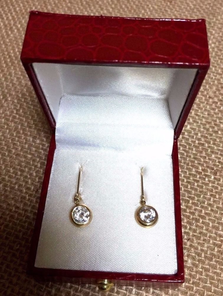 7fc9edf50 14k Gold JCM CZ Stones Pierced Earrings 1.6g #JCM | MaryJo Ebay ...