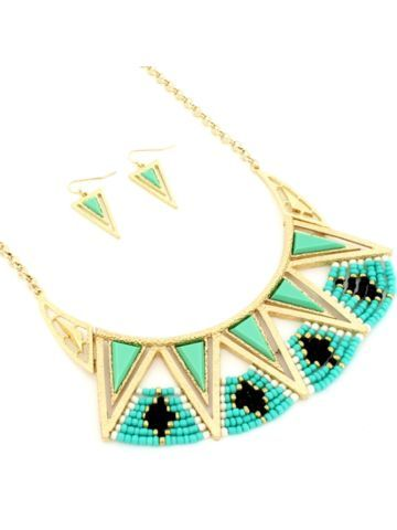 Goldtone and Seed Bead Aztec Bib Necklace and Earring Set