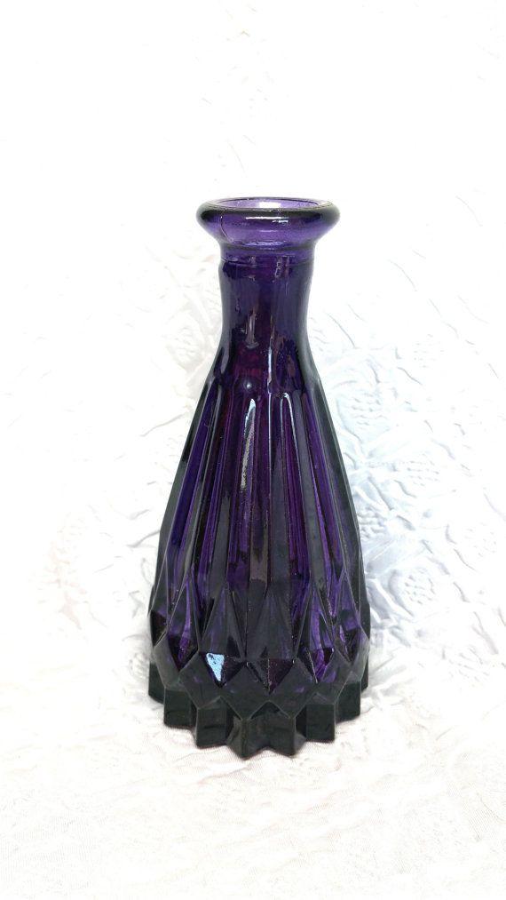 Vintage Purple Glass Vase Vintage Amethyst Glass Vase Purple Vase