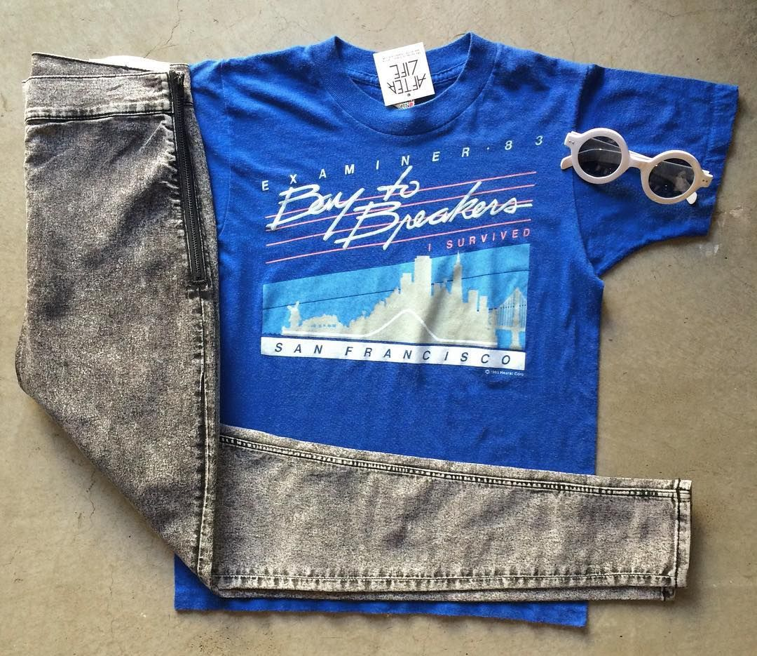 "Get ready for tomorrow with our 1983 Bay to Breakers Tee $28+$8(shipping) Size S(23""x17"") & Cheap Monday High Spray $90 Size 26/27 & a pair of our Nautical ShadesContact the shop at 415-796-2398 to purchase by phone or send PayPal payment to afterlifeboutique@gmail.com and reference item in post; the first confirmed payment will get the item.  Call or DM with other questions."