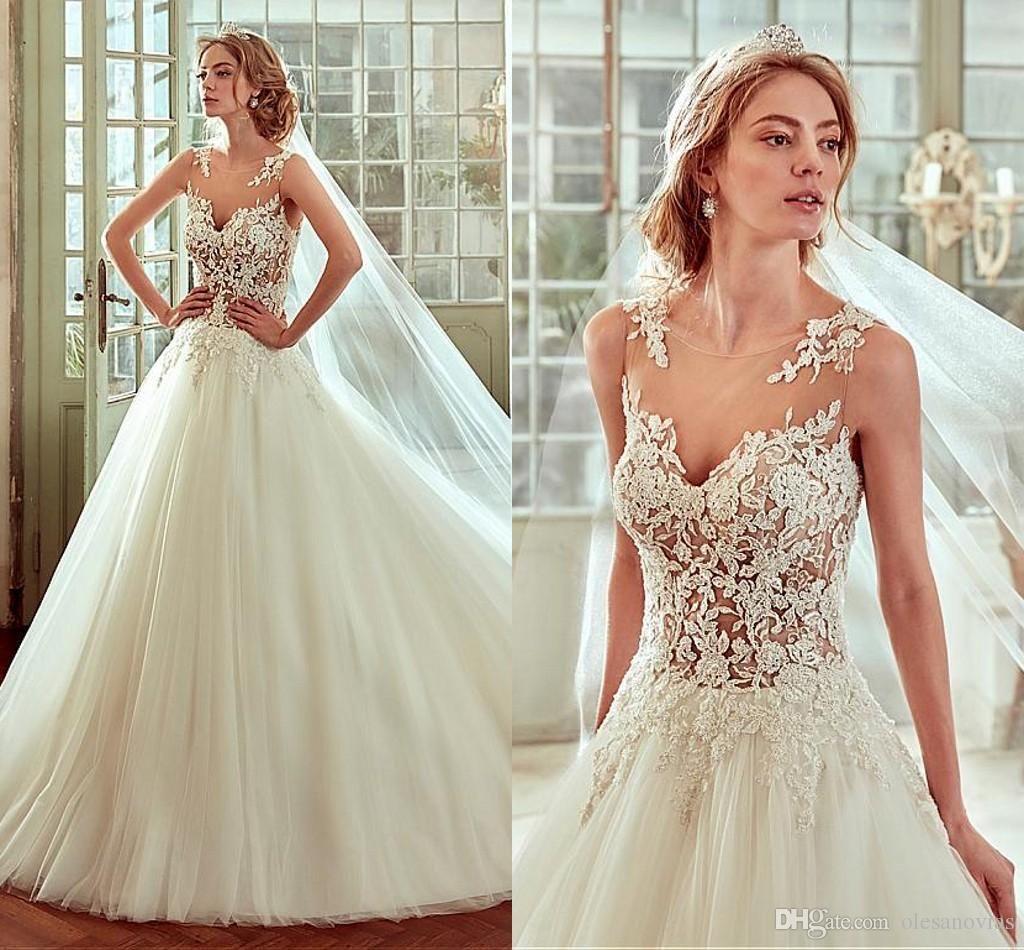 Cheap modest wedding dresses  Glamorous Tulle Satin Bateau Neckline Seethrough ALine Wedding