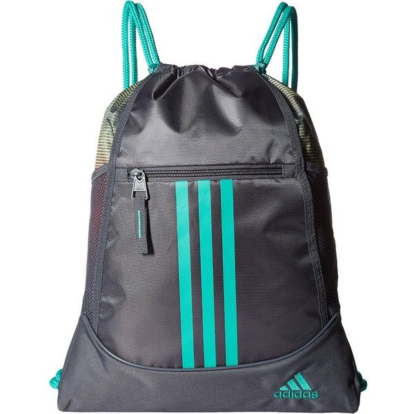 adidas Alliance II Sackpack (Onix/Siesta/Shock Mint) Bags ($13) ❤ liked on Polyvore featuring bags, handbags, grey, mint handbags, grey purse, grey handbags, drawstring bag and mint green handbags