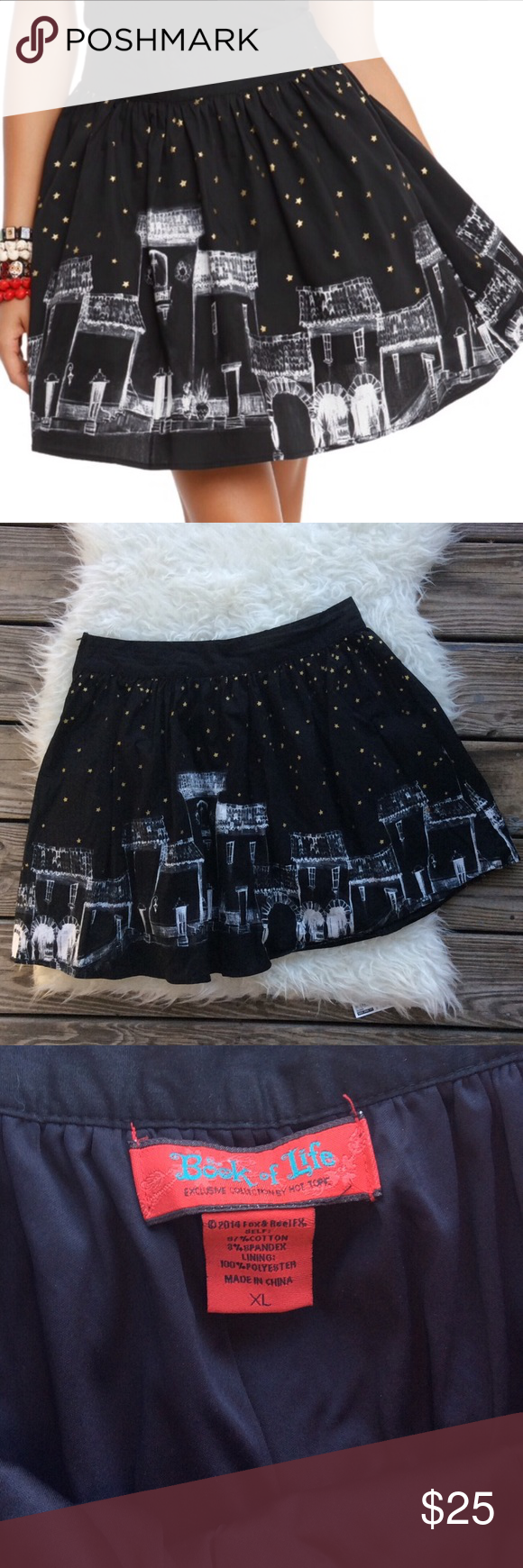 """Book of Life Evening Skyline Circle Skirt Excellent condition Book of Life Evening Skyline Circle Skirt from Hot Topic. Size XL. 97% cotton, 3% spandex, fully lined in 100% polyester. Waistband 33"""", length 18.5"""". No trades, offers welcome. Bundle to save more! Hot Topic Skirts Circle & Skater"""