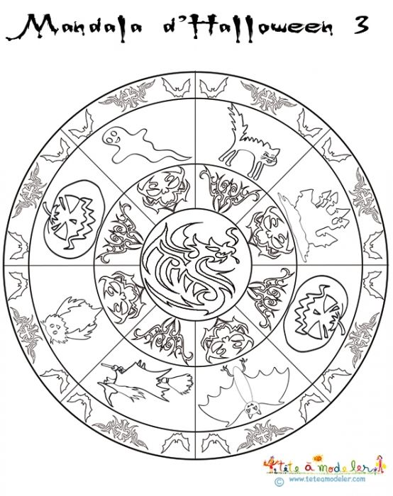 Mandala ronde d\'Halloween - Tête à modeler | Mandala