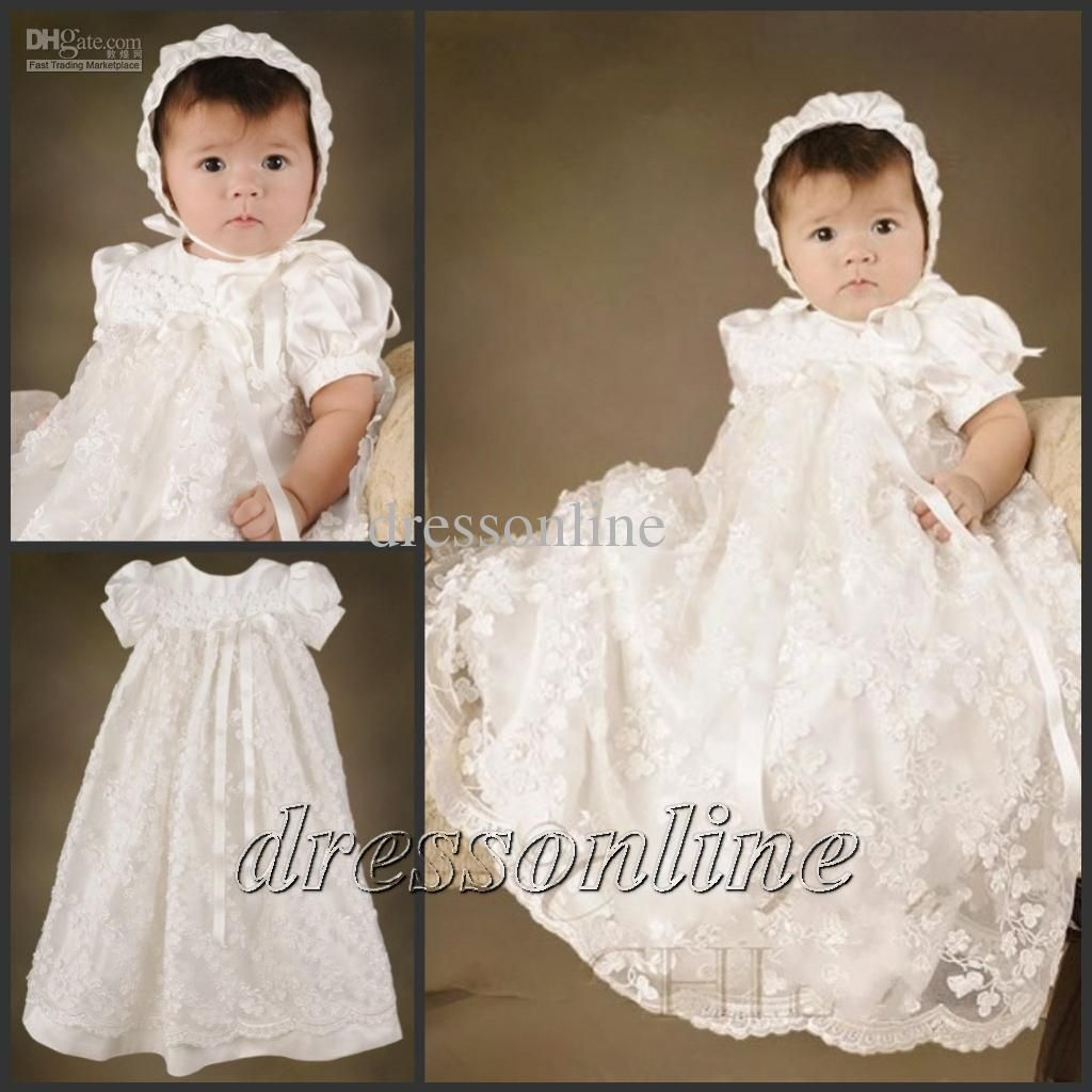 upscale short sleeves long baptism christening gown lace