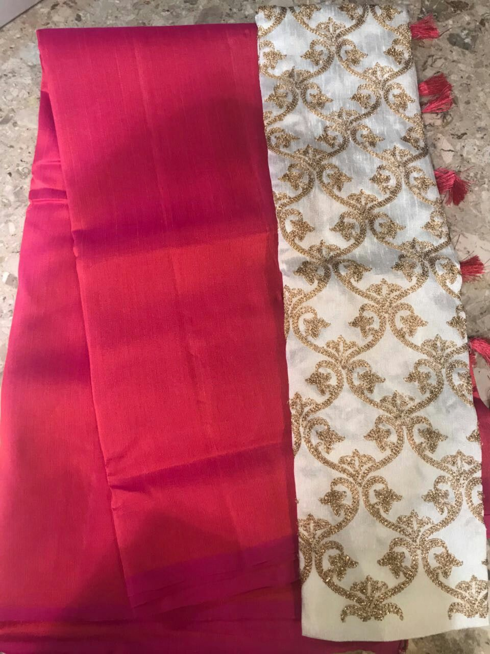 1ab565de94d9e PADMAVATI  Plain raw silk saree with tussles tied at pallu with contrast  designer blouse  2200 shipp Order what s app 7093235052