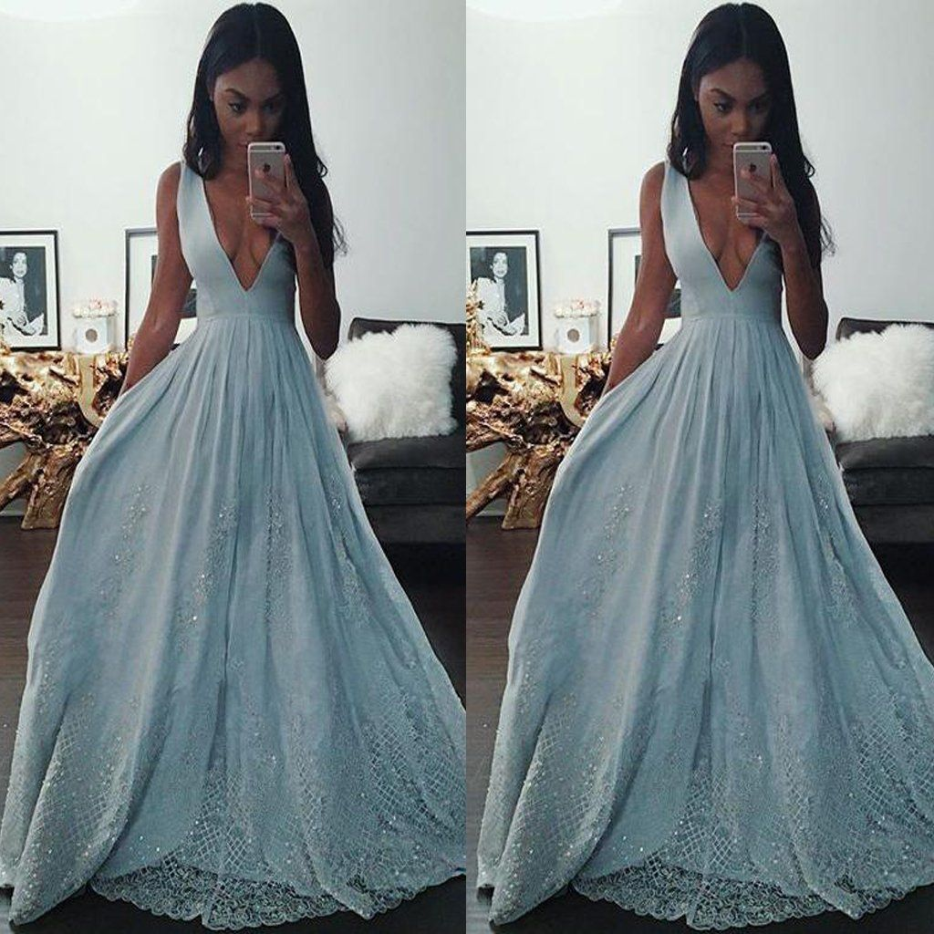 Illusion light blue aline v neck long prom dresses with lace