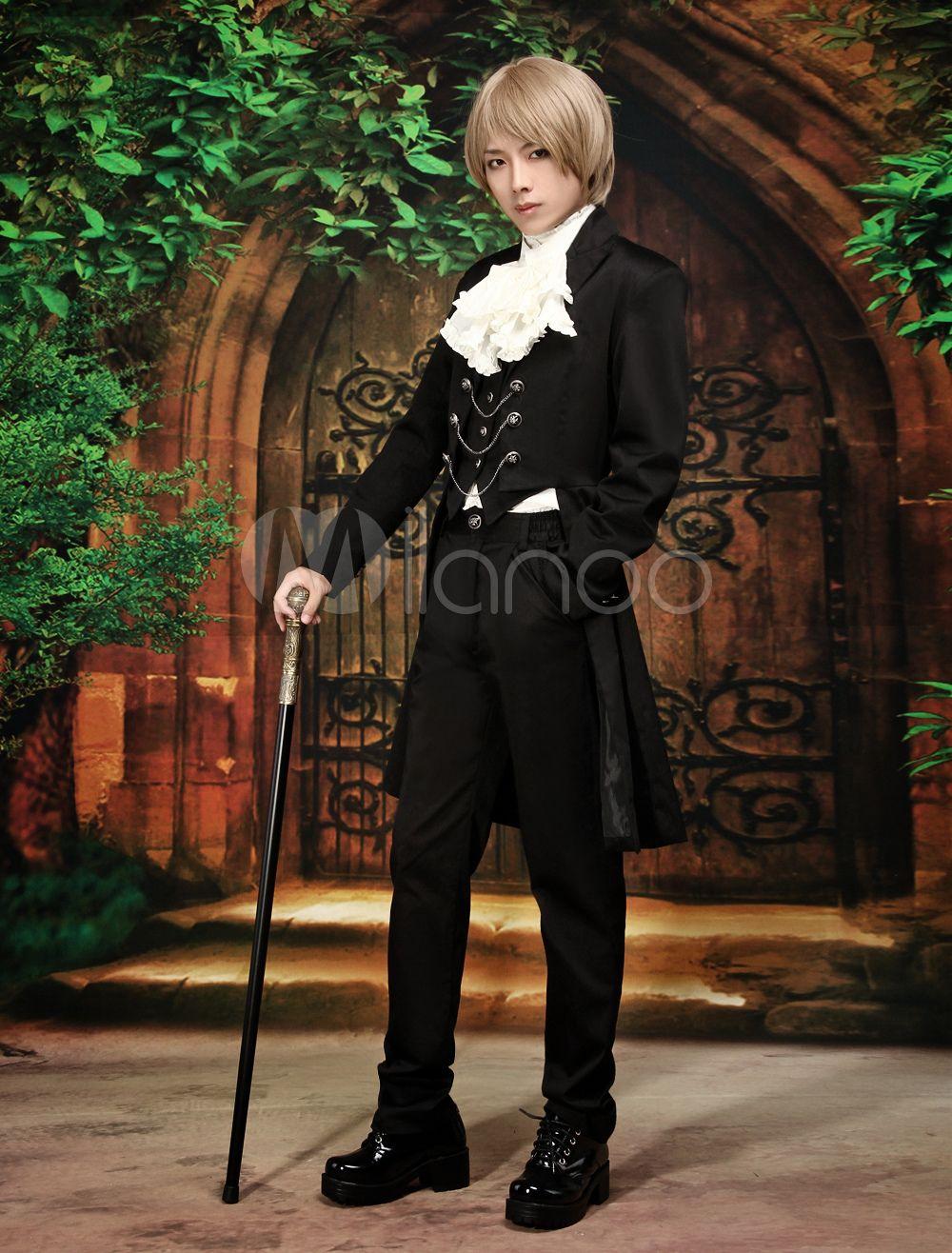 Aristocrat Long Sleeves Cotton Blend Black Lolita Outfits