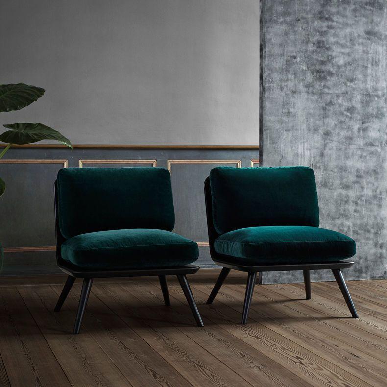 Moderner Kaminsessel / Stoff / Holz SPINE PETIT by Space Copenhagen - wohnzimmer blau holz