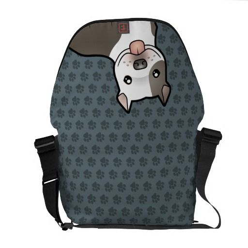 Cartoon Pitbull / American Staffordshire Terrier Courier Bag $111.00