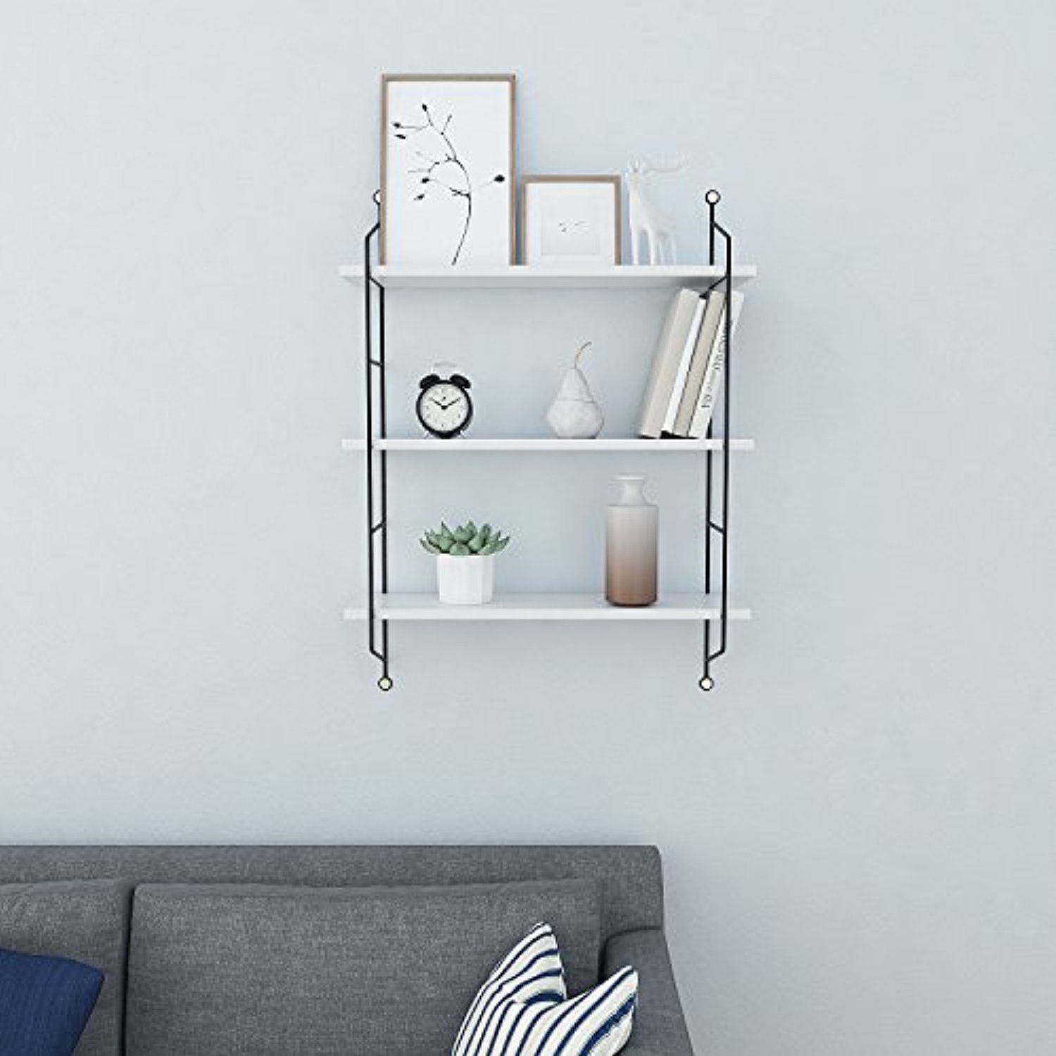 Homdox Industrial Floating Shelves Wall Mounted Metal Frame Urban Chic Display Wall Shelf 3 Tier White Floating Shelves Industrial Floating Shelves Shelves