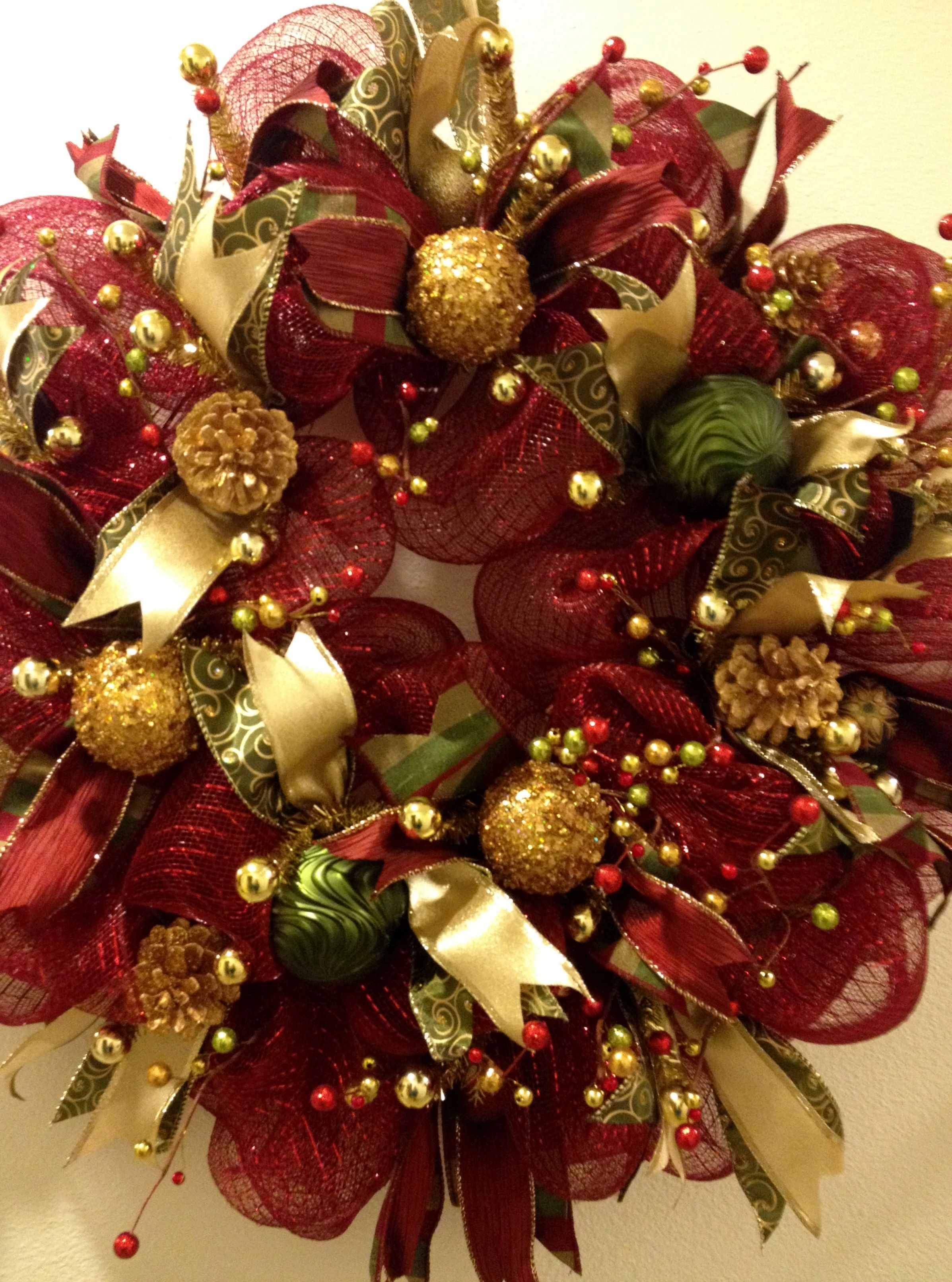 Burgundy and gold christmas deco mesh wreath https