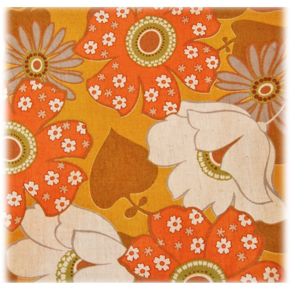 Unused high quality Vintage printed fabric with pattern for summer from Sweden 1970/'s.