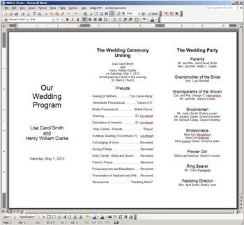 wedding ceremony pamphlet templates