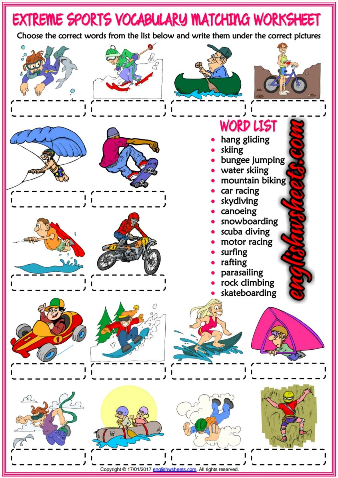Extreme Sports Esl Printable Vocabulary Worksheets With