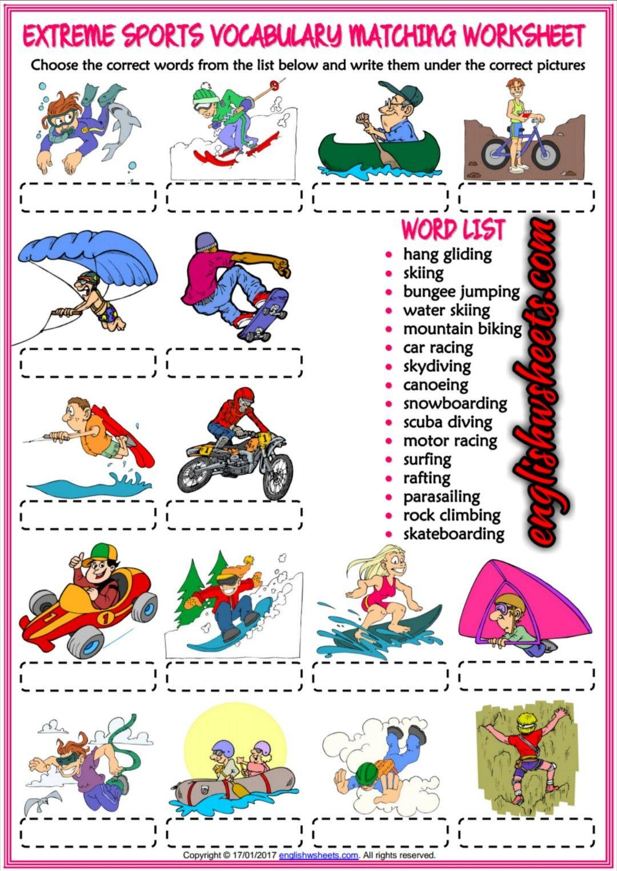 extreme sports esl printable matching exercise worksheet for kids esl printable vocabulary. Black Bedroom Furniture Sets. Home Design Ideas