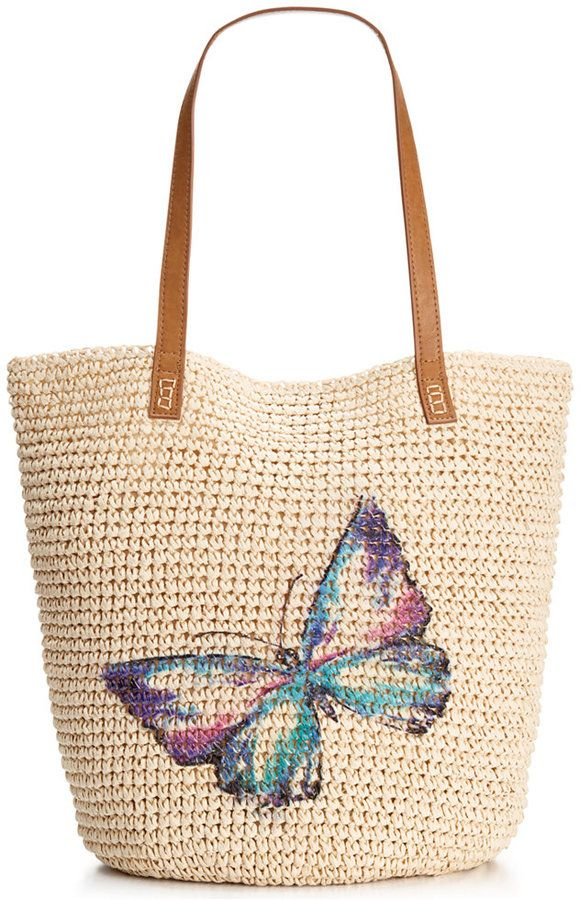 Style & Co. Style & Co. Butterfly Straw Beach Bag, Only at Macy's ...
