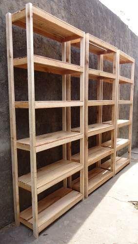 1 estanteria reforzada de madera rustica 195x80x32 6 - Estantes de madera para pared ...