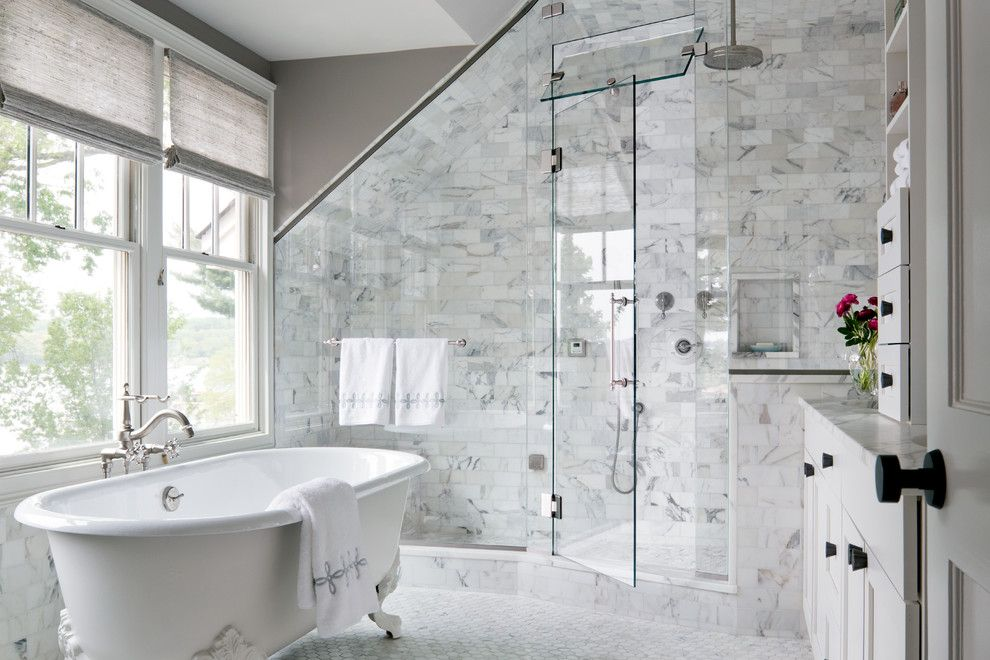 Roman Shower Bathroom Transitional With Sloped Ceiling