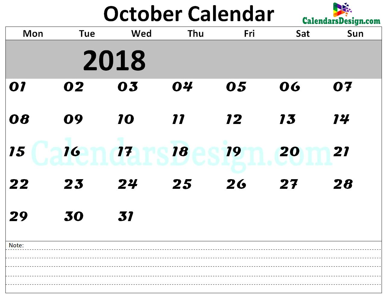 October 2018 Calendar Template October Calendar 2018 Template 2018