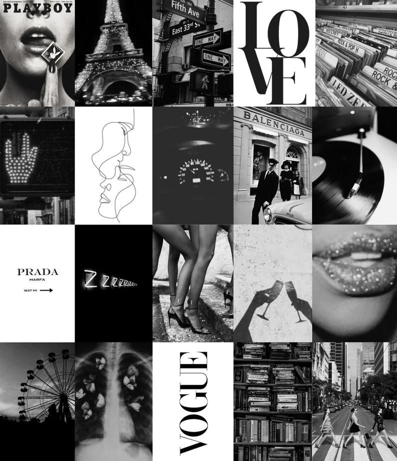 Paris Wall Collage Kit Digital Etsy In 2020 Black And White Photo Wall Black And White Picture Wall Black And White Aesthetic