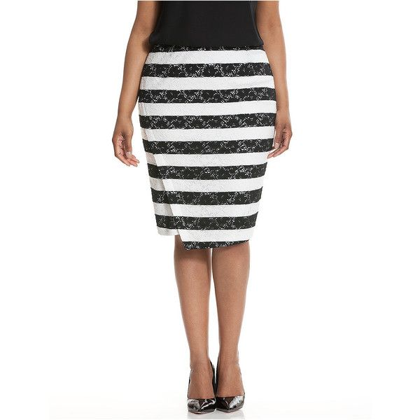 Lane Bryant Striped lace pencil skirt ($50) ❤ liked on Polyvore