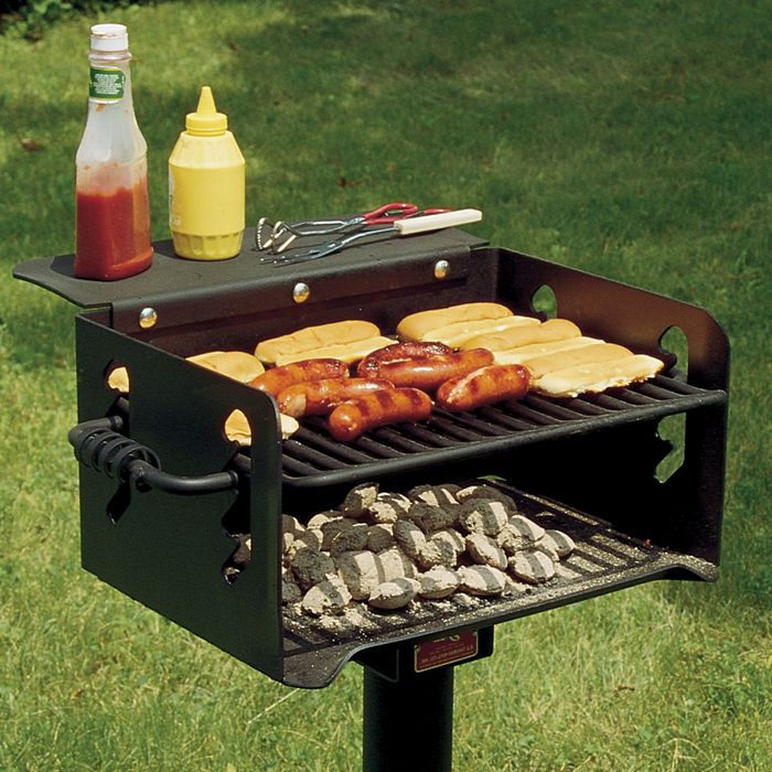 Pilot Rock N 20 Series 300 Sq Inch Charcoal Park Grill With Inground Mount Park Grill Bbq Grill Design Outdoor Bbq Grill