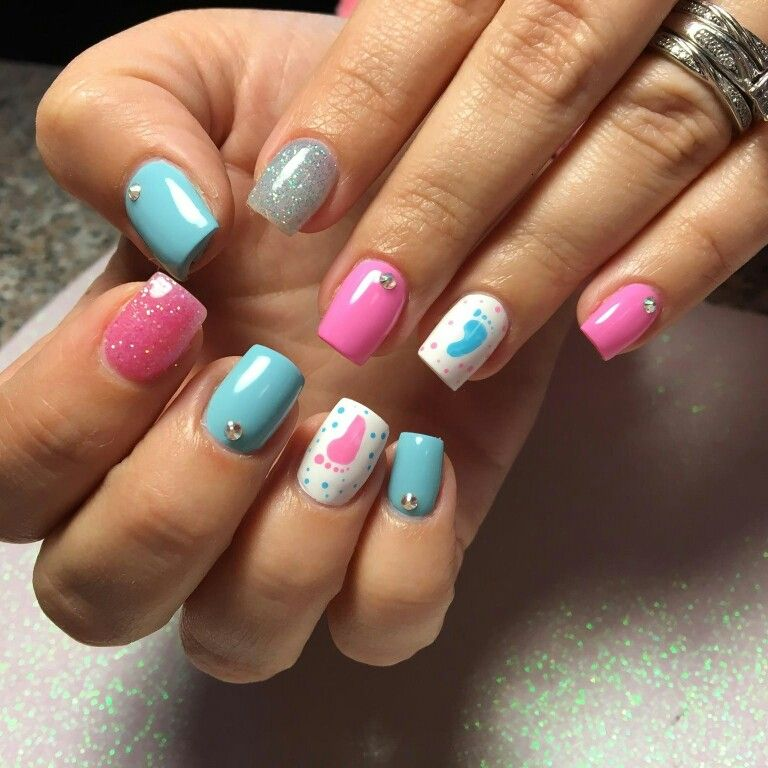 Gender Reveal Nails Baby Nails Gender Reveal Nails Baby Shower Nails