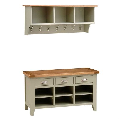 Wondrous Caldecote French Grey Shelf And Shoe Storage Bench Set Unemploymentrelief Wooden Chair Designs For Living Room Unemploymentrelieforg