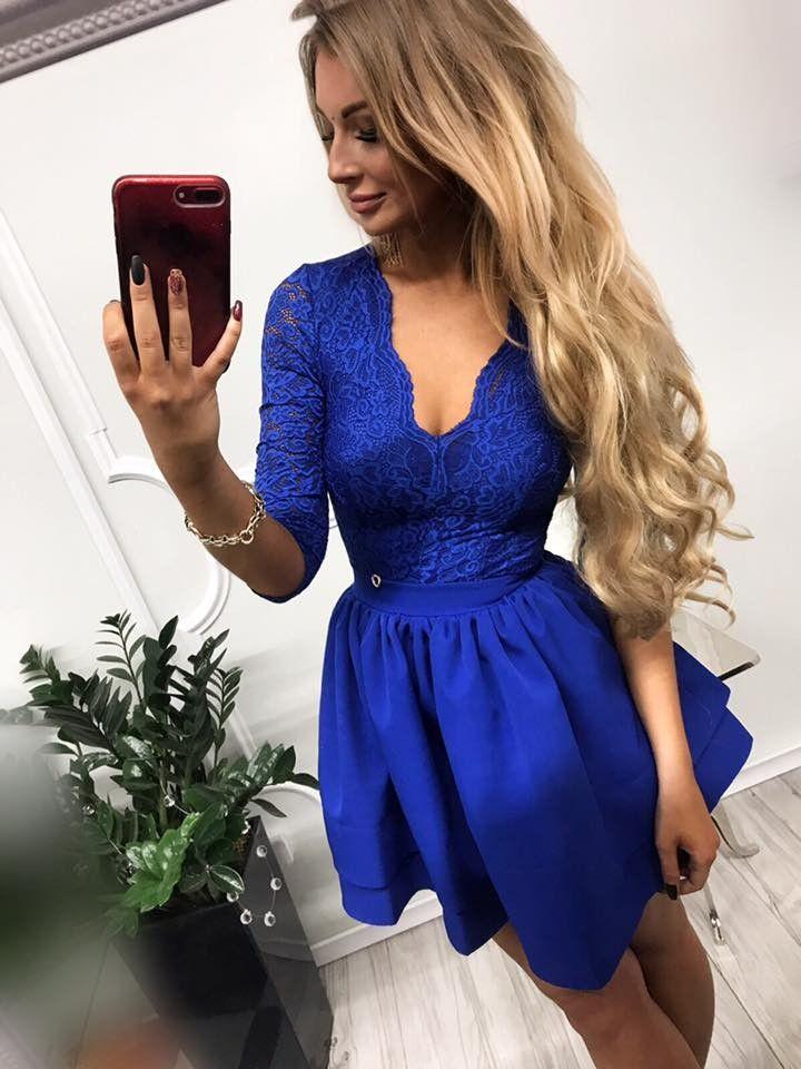4f6112a091af14 Sukienka chabrowa koronkowa mini odkryte plecy w 2019   Sukienka z ...