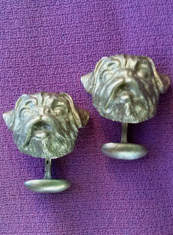 Vintage 1990s Cufflinks Figural Dogs Cast Mixed by bycinbyhand
