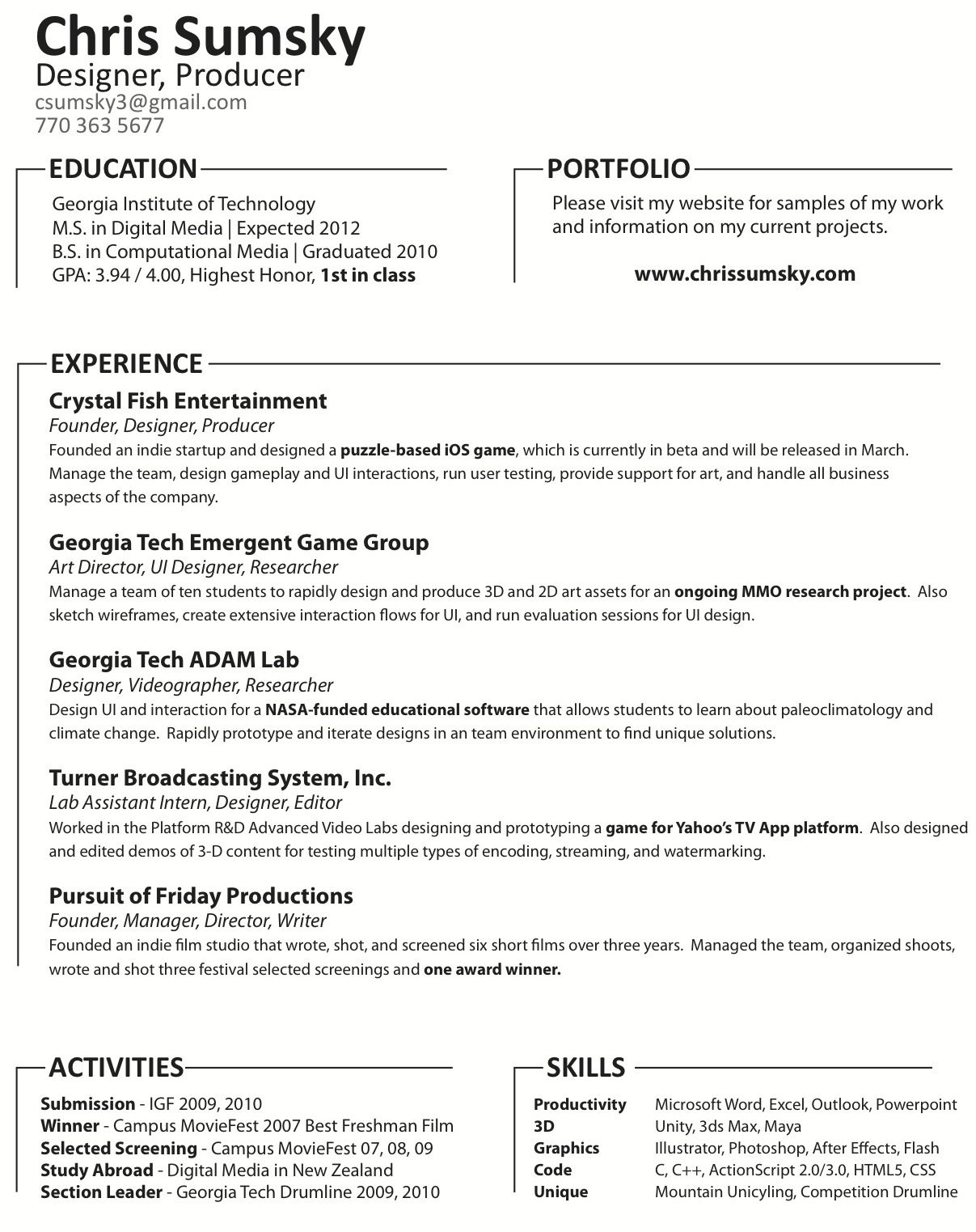 Http Www Chrissumsky Com Images Sumsky Resume Jpg Essay Writing Georgia Institute Of Technology Dissertation