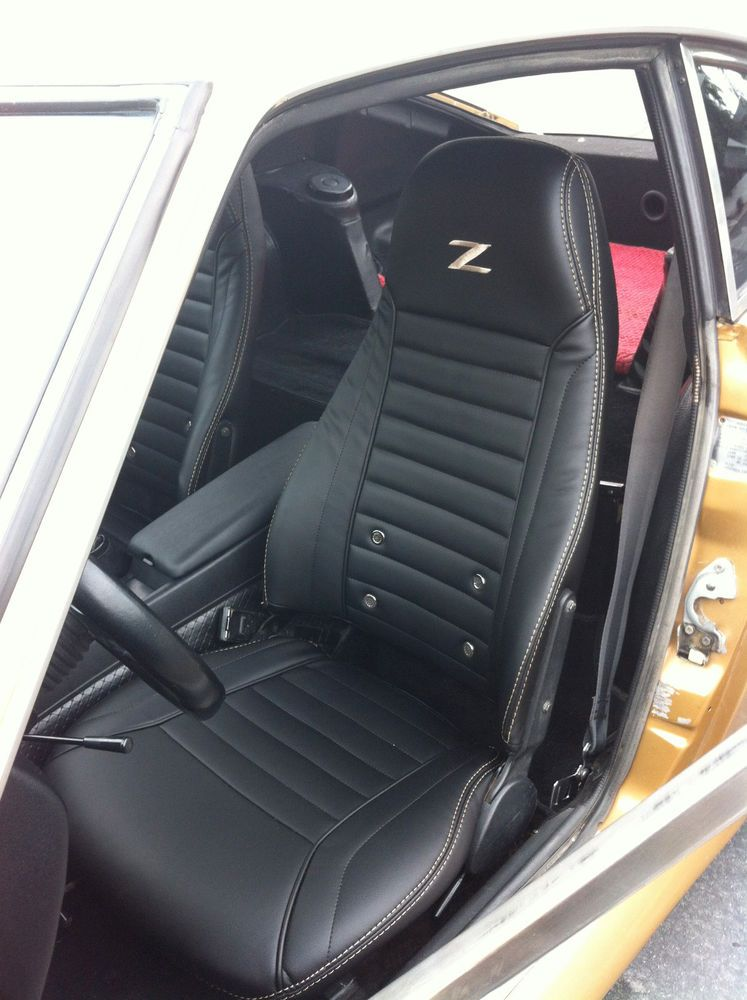 1970 1978 Datsun 240z 260z 280z Synthetic Leather Black Seat Covers Z Logo Ridies Black Seat Covers Datsun 240z Leather Seat Covers