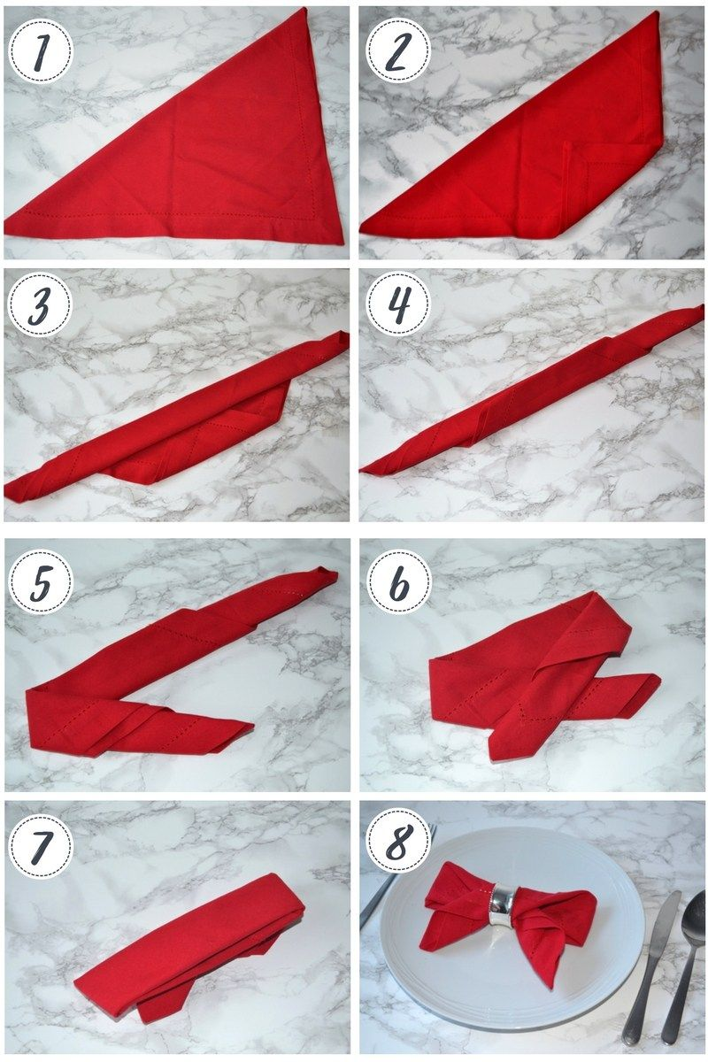 Napkin folding: 3 ideas for your Christmas table #foldingnapkins