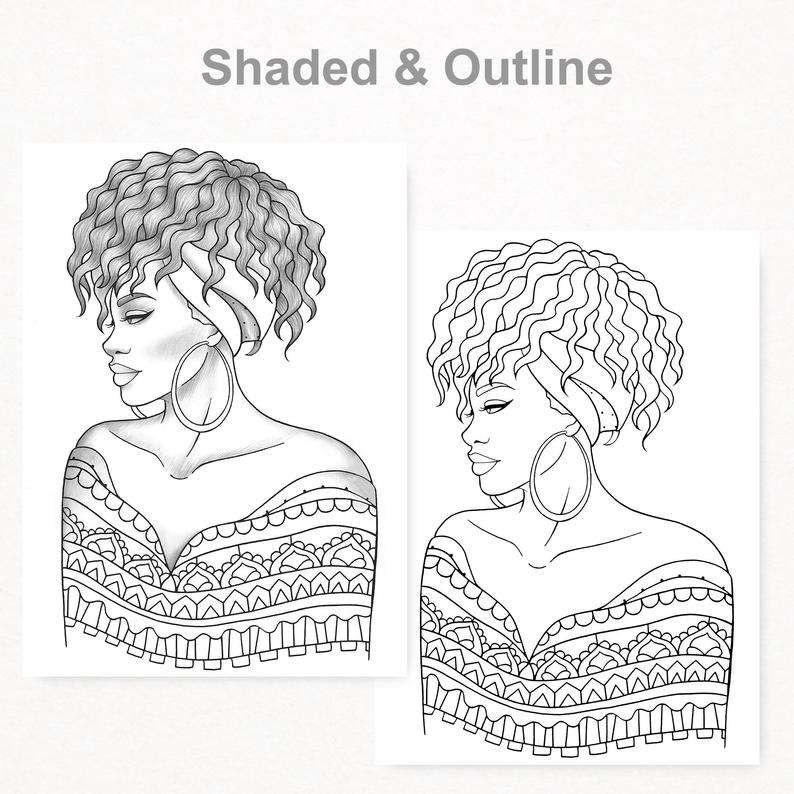 Printable Coloring Book 5 Gray Scale Girls Colouring Pages Etsy Coloring Books Portrait Girl Coloring Pages For Girls