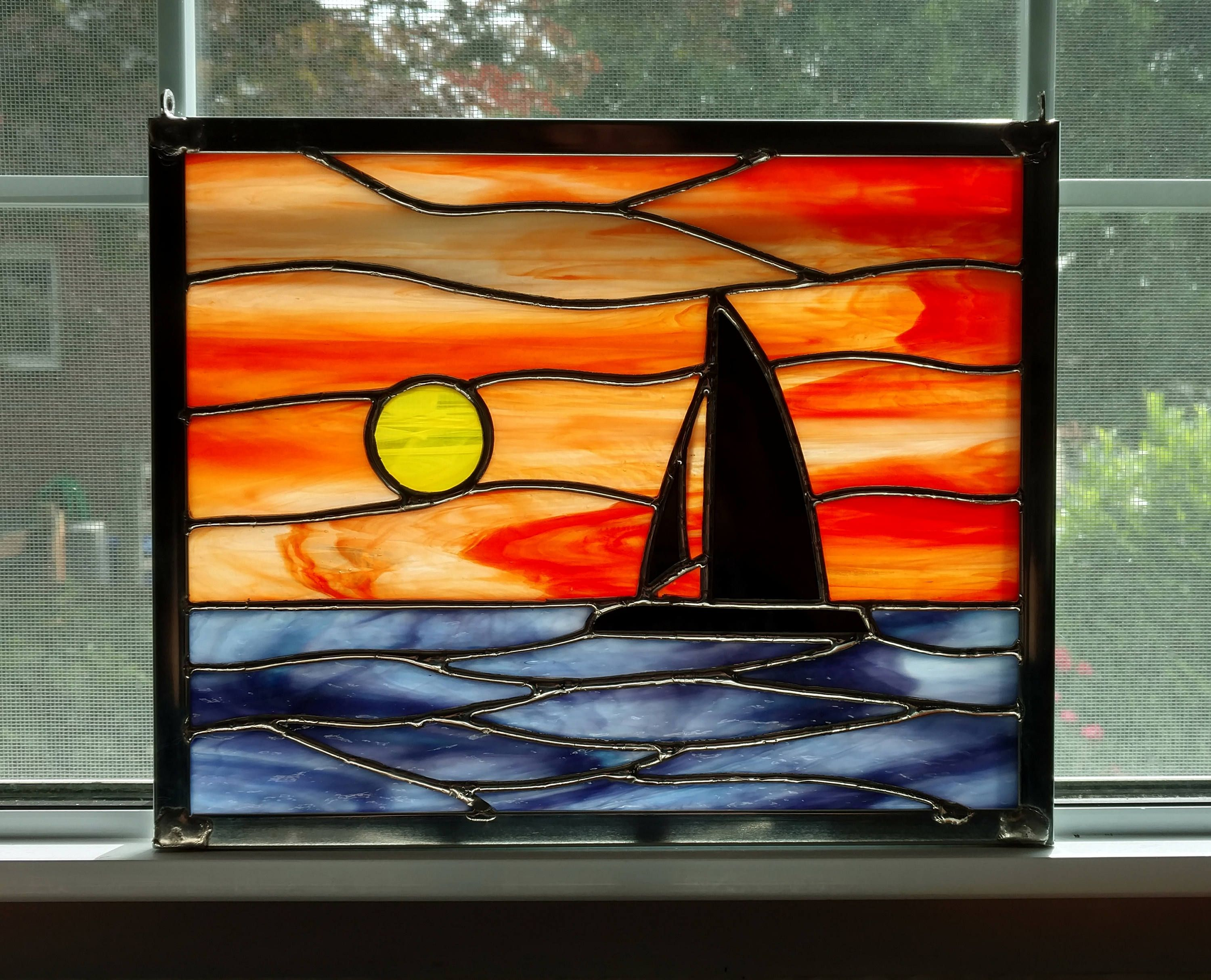 Sailboat Sunset Stained Glass Window Panel, Ocean Sunset ...