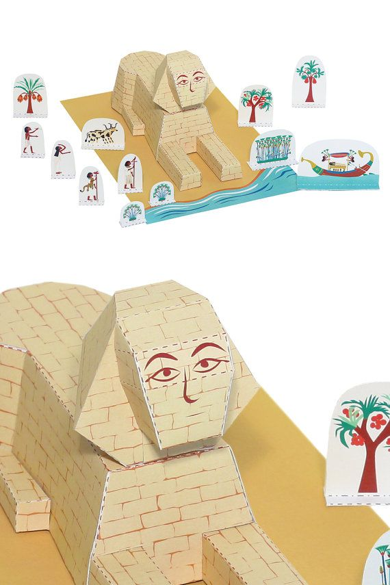 Sphinx Paper Toy Paper Toy Diy Paper Craft Kit 3d Model Paper