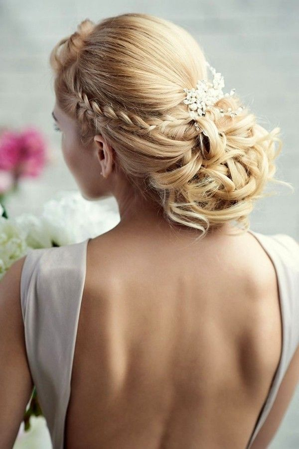 Brautfrisuren geflochten mit schleier  Brautfrisur geflochtene Zöpfe-Hochzeitsfrisuren romantisch-2014 ...