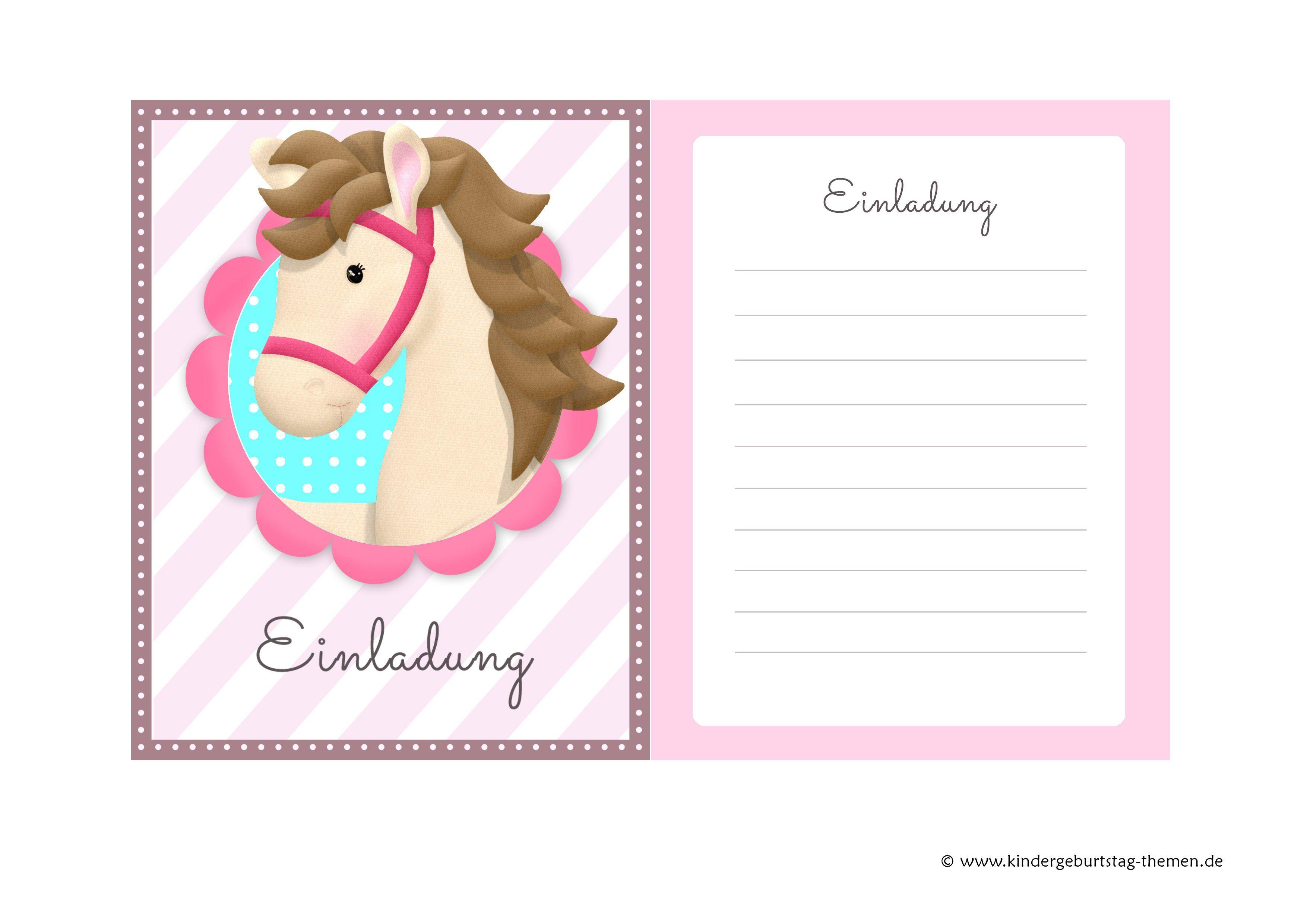 Einladungskarten Kindergeburtstag Kostenlos : Einladungskarten  Kindergeburtstag Kostenlos Pferde   Einladungskarten Online   Einladungskarten  Online