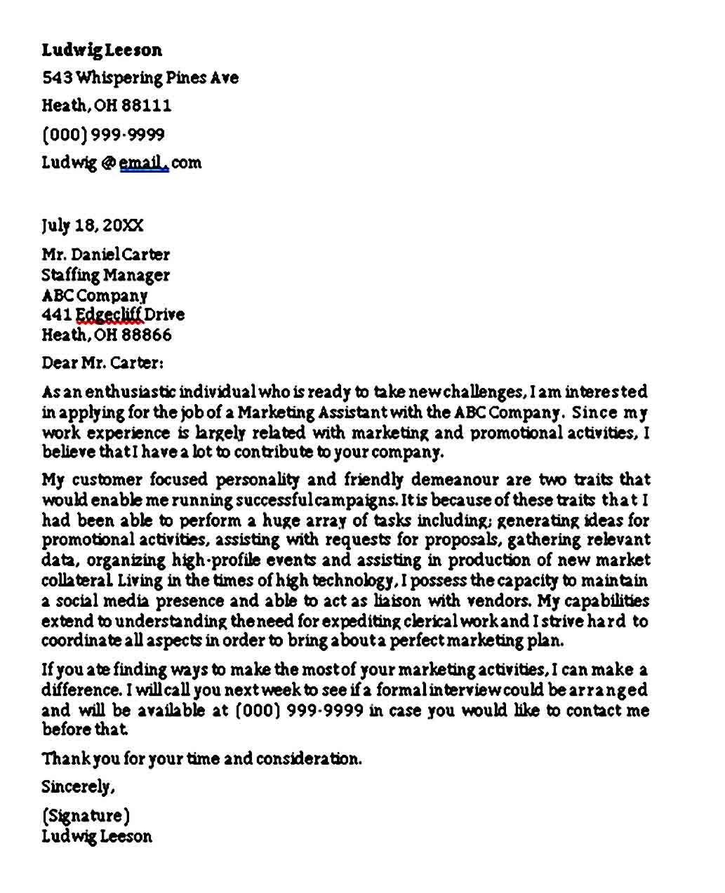Entry Level Marketing Cover Letter Sample PDF Word