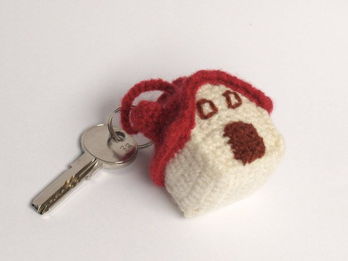 Amigurumi Crochet Keychain : Crochet house maroon cream and brown amigurumi keychain