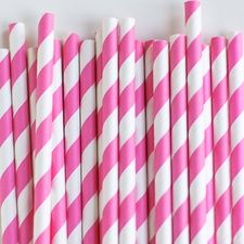 Paper Straws: Hot Pink Stripes