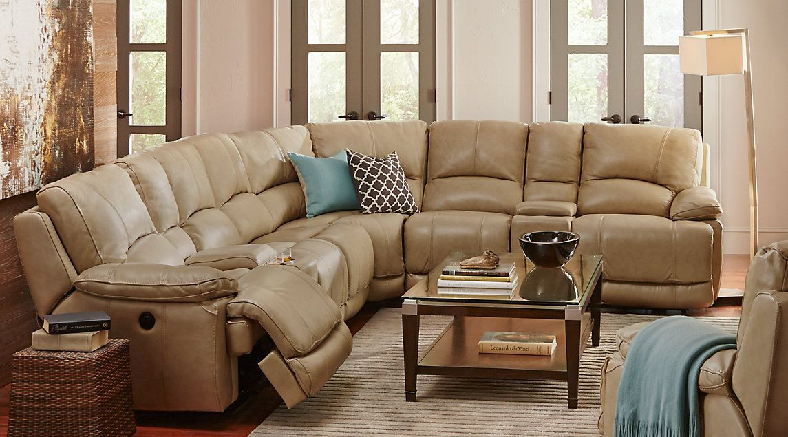 Cindy Crawford Van Buren Beige 8Pc Sectional | Living room ...